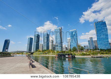 Songdo, Korea - September 07, 2015: Songdo International Business District