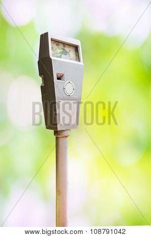 Parking Meter On Blur Background
