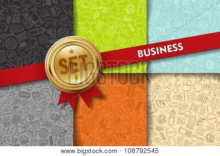 Set of business backgrounds with doodle icons in different colors