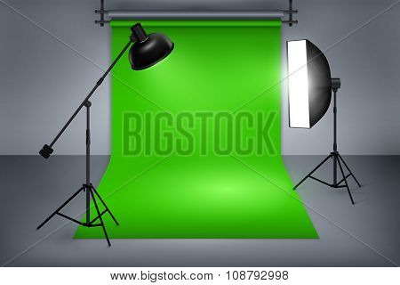 Film studio with green screen