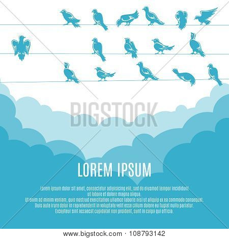 Individuality and new leadership, independent thinker concept background. Individual and different, bird and metaphor, vector illustration