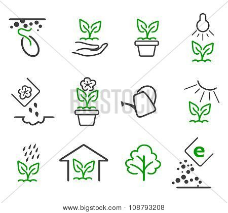 Line sprout and plant growing vector icons set