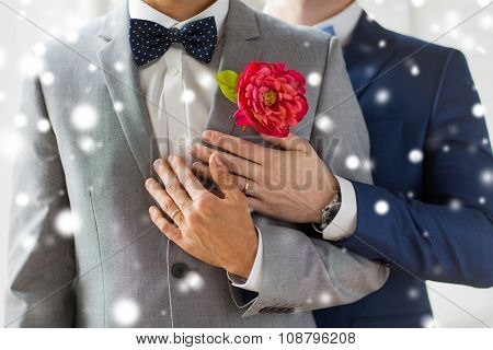 people, homosexuality, same-sex marriage and love concept - close up of happy married male gay couple in suits with buttonholes and bow-ties on wedding over snow effect