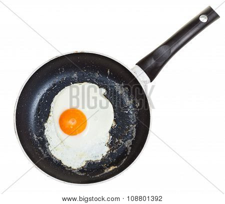 Top View Of One Fried Egg In Black Frypan Isolated