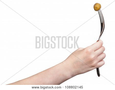 Hand Holds Fork With Impaled Green Olive Isolated
