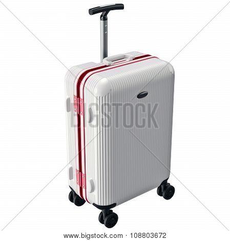 White luggage on wheels