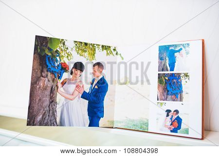 Blue And Orange Textile Wedding Photo Book And Album