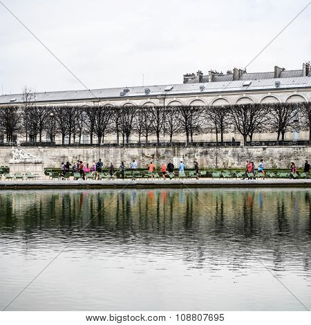 PARIS - October 14, 2015: Parisians doing sport in famous