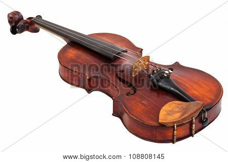 Old Fiddle With Wooden Chinrest Isolated On White