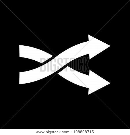 The intersecting arrows icon. Exchange and turn, cross symbol. Flat