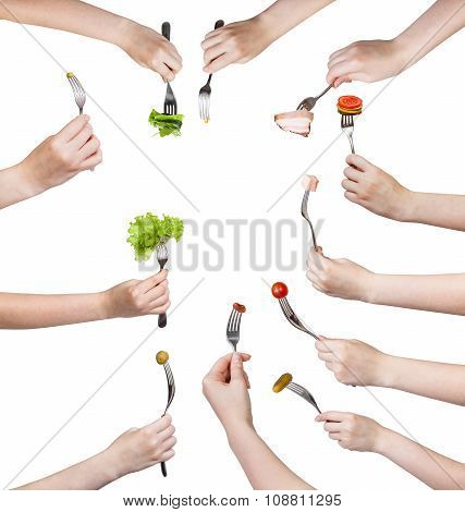 Set Of Hands With Forks With Impaled Foods