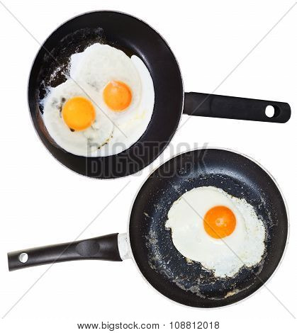 Frypans With One And Two Fried Eggs Isolated