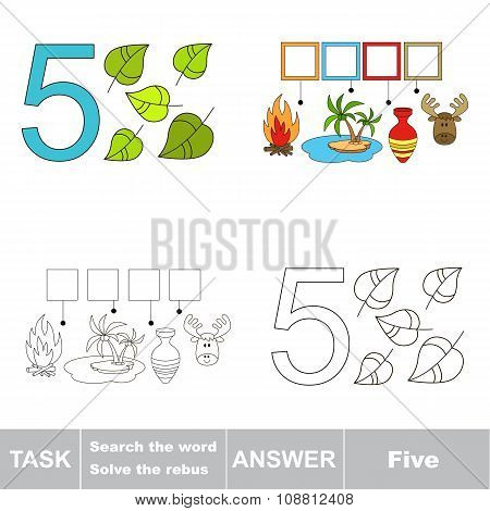 Vector rebus for figure with page to be colored. Tracing worksheet for letter 5 poster