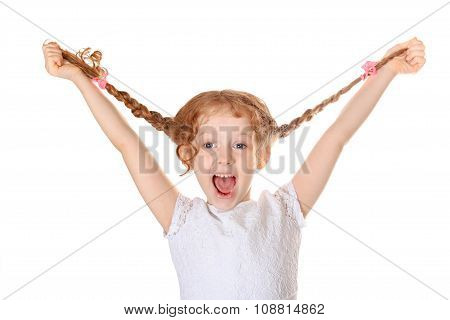 Laughing girl pull her pigtails up by hand and show her teethes. Childhood concept. Isolated in white background. poster