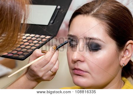 Beautiful Middle-aged Model, Which Is Applied Eyeshadow.
