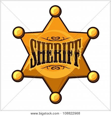 Golden sheriff star badge vector illustration isolated on white