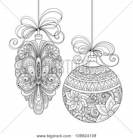 Vector Ornate Monochrome Christmas Decorations
