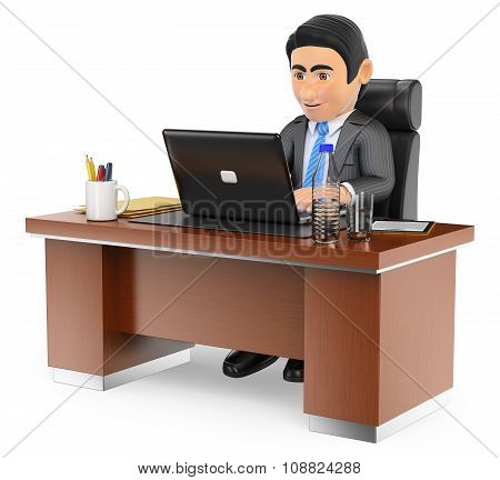 3D Businessman Working In The Office With His Laptop