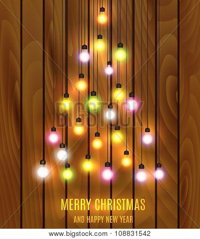 Christmas bulb lights arranged of Christmas tree.