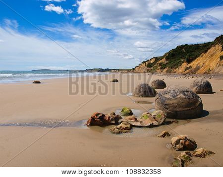 Famous Moeraki boulders geological feature near Christchurch New Zealand poster