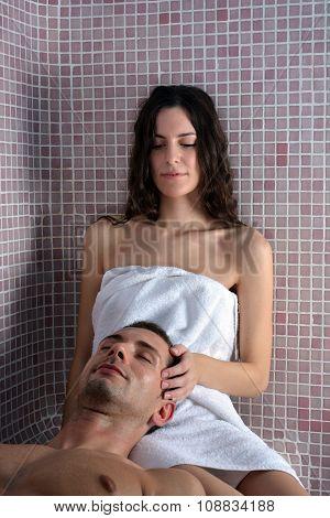 Couple Enjoying In A Turkish Bath