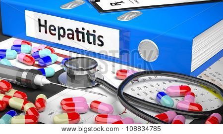 Illustration of doctor's desktop with different pills, capsules, statoscope, syringe, blue folder with label 'Hepatitis'