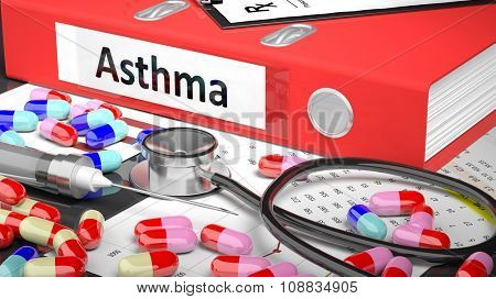 Illustration of doctor's desktop with different pills, capsules, statoscope, syringe, red folder with label 'Asthma'