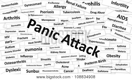 A disease called Panic Attack written in bold type. Black and white words