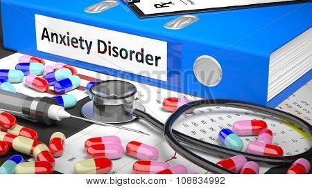 Illustration of doctor's desktop with different pills, capsules, statoscope, syringe, blue folder with label 'Anxiety Disorder'