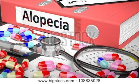 Illustration of doctor's desktop with different pills, capsules, statoscope, syringe, pale red folder with label 'Alopecia'