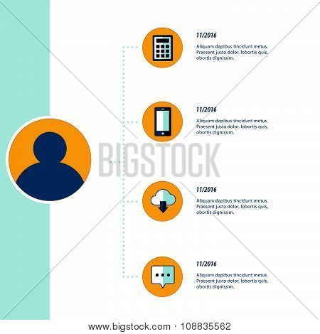 Bule, Yellow Color Infographic, Timeline Template