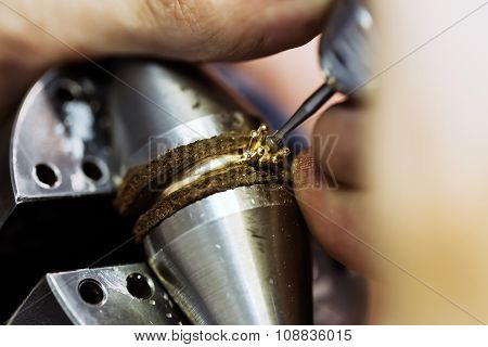 Ring Being Repaired , Crafted By Jeweler
