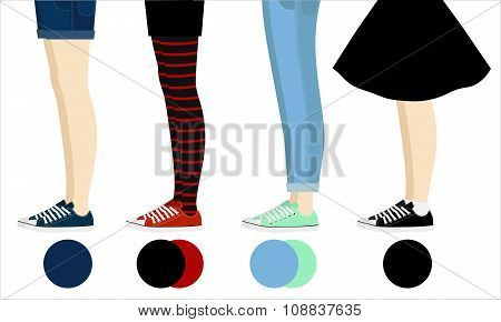 Four female pair legs with gumshoes assortment