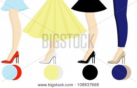 Four female pair legs with shoes assortment
