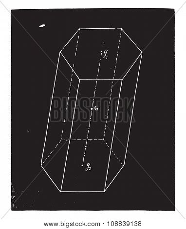 Prism center of gravity, vintage engraved illustration. Industrial encyclopedia E.-O. Lami - 1875.