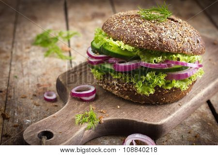 Vegan Rye Burger With Fresh Vegetables