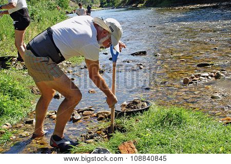 A Gold Prospector At Work