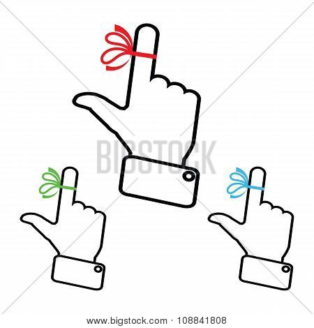 Set Hand with ribbon on your finger, concepts. Reminder icon.