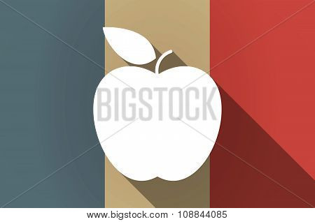 Long Shadow Flag Of France Vector Icon With An Apple