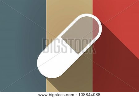 Long Shadow Flag Of France Vector Icon With A Pill