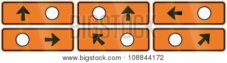 A Collection Of New Zealand Road Signs - Detour Directions With Circle Symbol