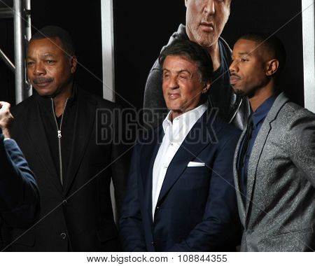 LOS ANGELES - NOV 19:  Carl Weathers, Sylvester Stallone, Michael B. Jordan at the
