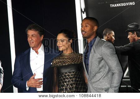LOS ANGELES - NOV 19:  Sylvester Stallone, Tessa Thompson, Michael B. Jordan at the