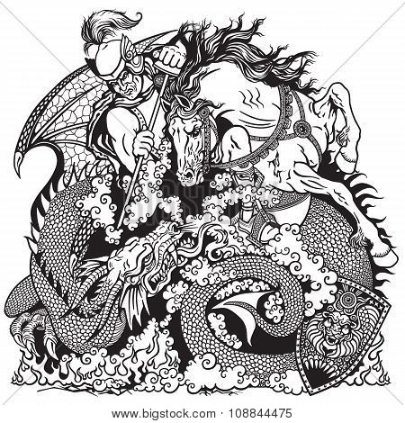 knight fighting a dragon black and white