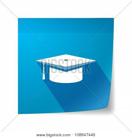Long Shadow Vector Sticky Note Icon With A Graduation Cap