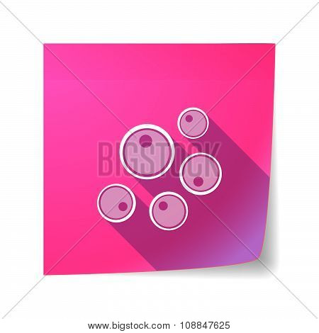 Long Shadow Vector Sticky Note Icon With Oocytes