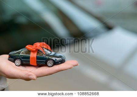 Small souvenir car on saleswoman palm.