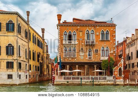 Palace in Venetian Gothic style on the Grand Canal in summer day, Venice, Italy. poster