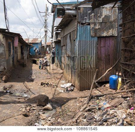 NAIROBI, KENYA- NOVEMBER 7, 2015: Unidentified people live in extreme poverty in Kibera, Africa's largest urban slum