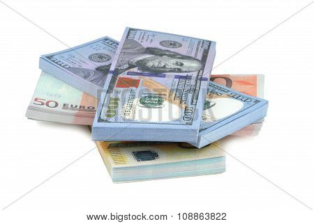 Euro and dollar banknotes on white background